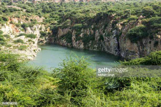 lake in asola bhatti wildlife sanctuary, asola, delhi - faridabad stock pictures, royalty-free photos & images