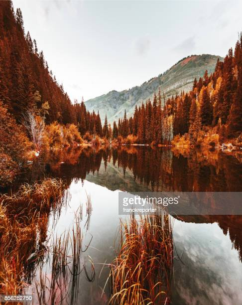 Lake in colorado state in autumn
