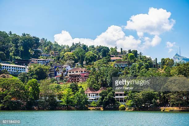 lake in kandy, sri lanka - kandy kandy district sri lanka stock photos and pictures