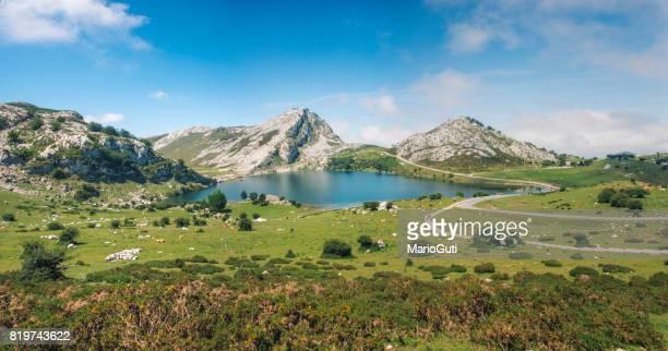 lago en picos de europa - parque nacional fotografías e imágenes de stock