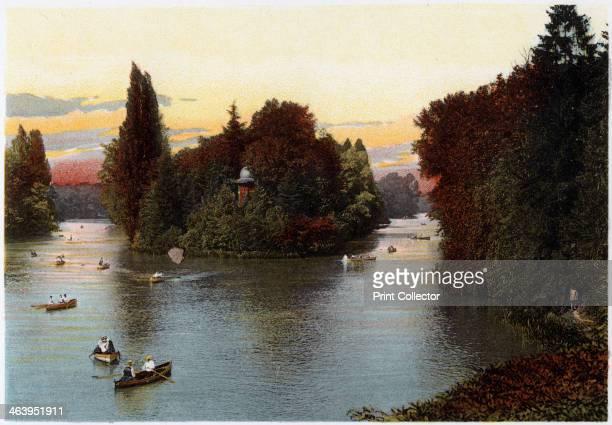 A lake in the Bois de Boulogne Paris c1900