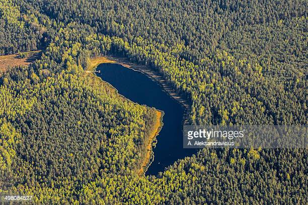 Lake In The Forest, river aerial view, Lithuania