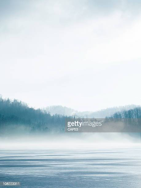 lake in winter - fog stock pictures, royalty-free photos & images