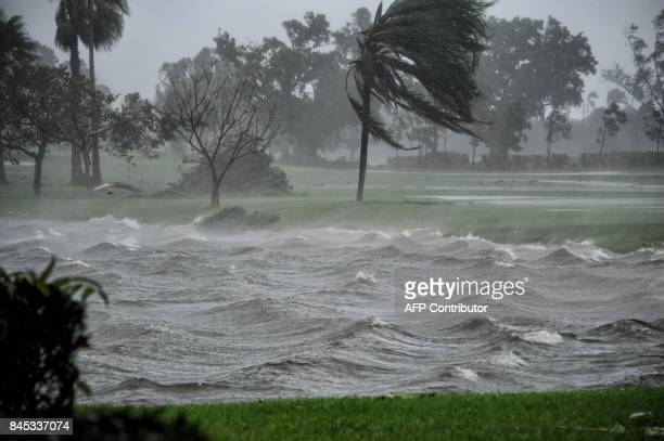 A lake is hit by Hurricane Irma in Pembroke Pines Florida on September 10 2017 Hurricane Irma's eyewall slammed into the lower Florida Keys lashing...