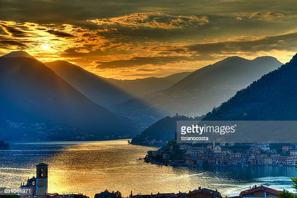 Lake Iseo at sunset, Montisola, Lombardy, italy