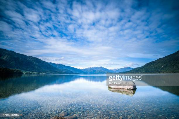 lake kaniere, new zealand - reflection lake stock photos and pictures