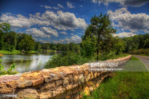 lake killarney rock guard rail - ozark mountains stock pictures, royalty-free photos & images