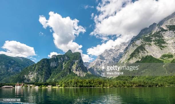 Lake Koenigssee with St. Bartholomae and Watzmann massif, Berchtesgaden National Park, Berchtesgadener Land, Upper Bavaria, Bavaria, Germany