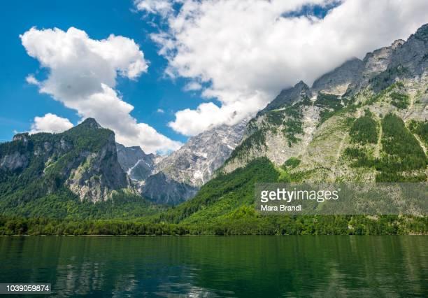 Lake Koenigssee with Watzmann massif, Berchtesgaden National Park, Berchtesgadener Land, Upper Bavaria, Bavaria, Germany