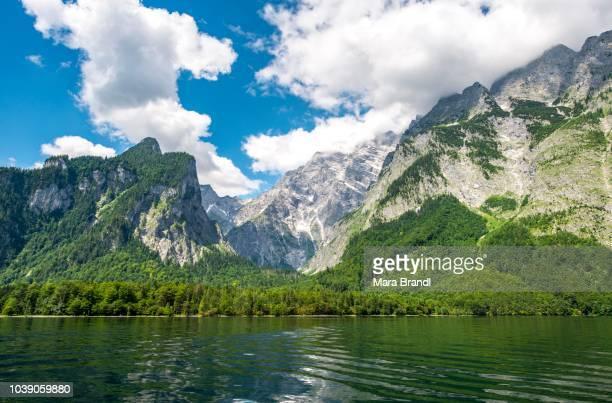 Lake Koenigssee with Watzmann massif, Berchtesgaden National Park, Berchtesgaden area, Upper Bavaria, Bavaria, Germany