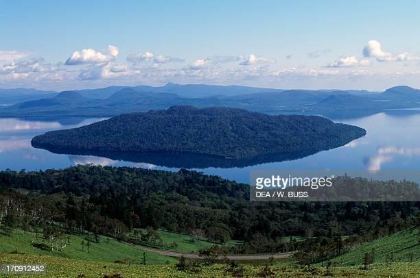 Lake Kussharo seen from Bihoro Pass Akan National Park Hokkaido Japan