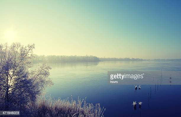 Lake landscape in winter time
