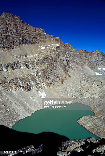 Lake Lillet and Mare Percia seen from Colle della Terra, Gran Paradiso National Park, Piedmont, Italy.
