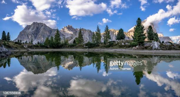 lake limides, dolomite alps, south tyrol, italy, europe - beschaulichkeit stock pictures, royalty-free photos & images