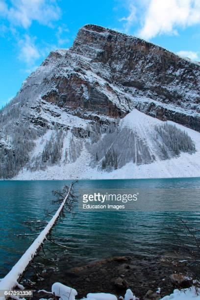 Lake Louise, Banff National Park, Alberta, Canada, in snow.