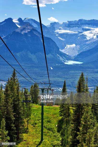 Lake Louise gondola over lush green mountainside with Lake Louise itself and glaciers visible across valley