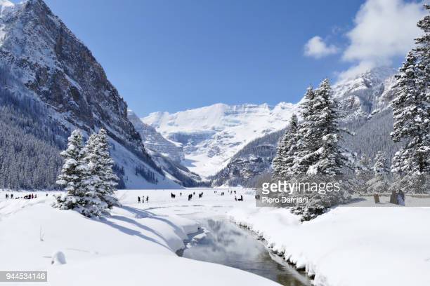 lake louise in winter - banff stock photos and pictures