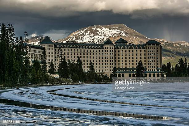 Lake Louise is still for the most part frozen over on April 23 2016 at Lake Louise Alberta Canada Banff is Canada's oldest National Park and is...