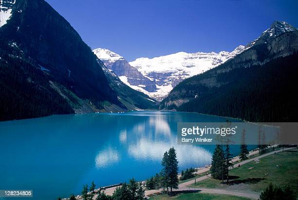 Lake Louise & Victoria Glacier with grounds of Fairmount Chateau, Alberta