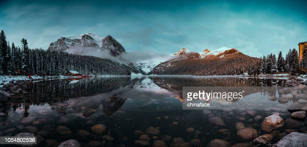 lake louise,winter view - alberta stock pictures, royalty-free photos & images