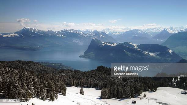 lake lucerne and swiss alps view from pilatus - san bernardino california stock pictures, royalty-free photos & images