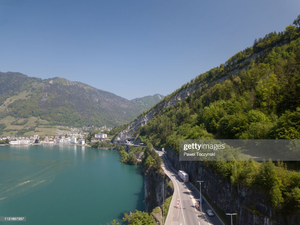 Lake Lucerne with Brunnen town in the background, Switzerland, 2018 : Stock Photo