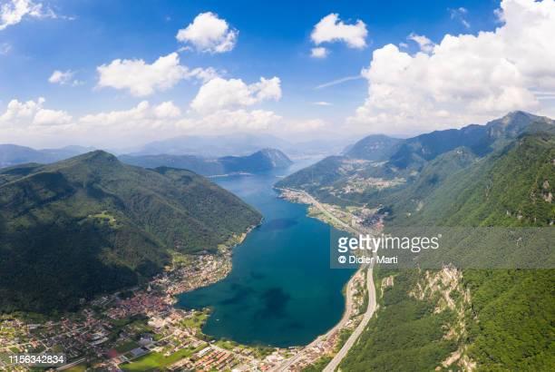lake lugano aerial  in ticino, switzerland - スイス ルガーノ ストックフォトと画像