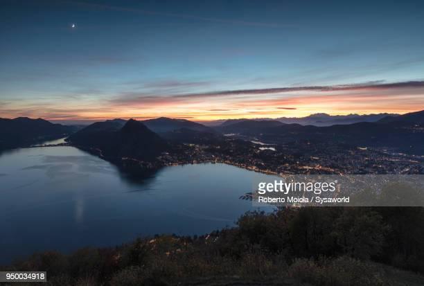 Lake Lugano at sunset, Switzerland