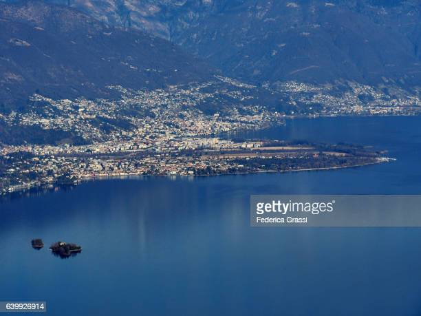 lake maggiore in southern switzerland with locarno and ascona - ascona stock photos and pictures