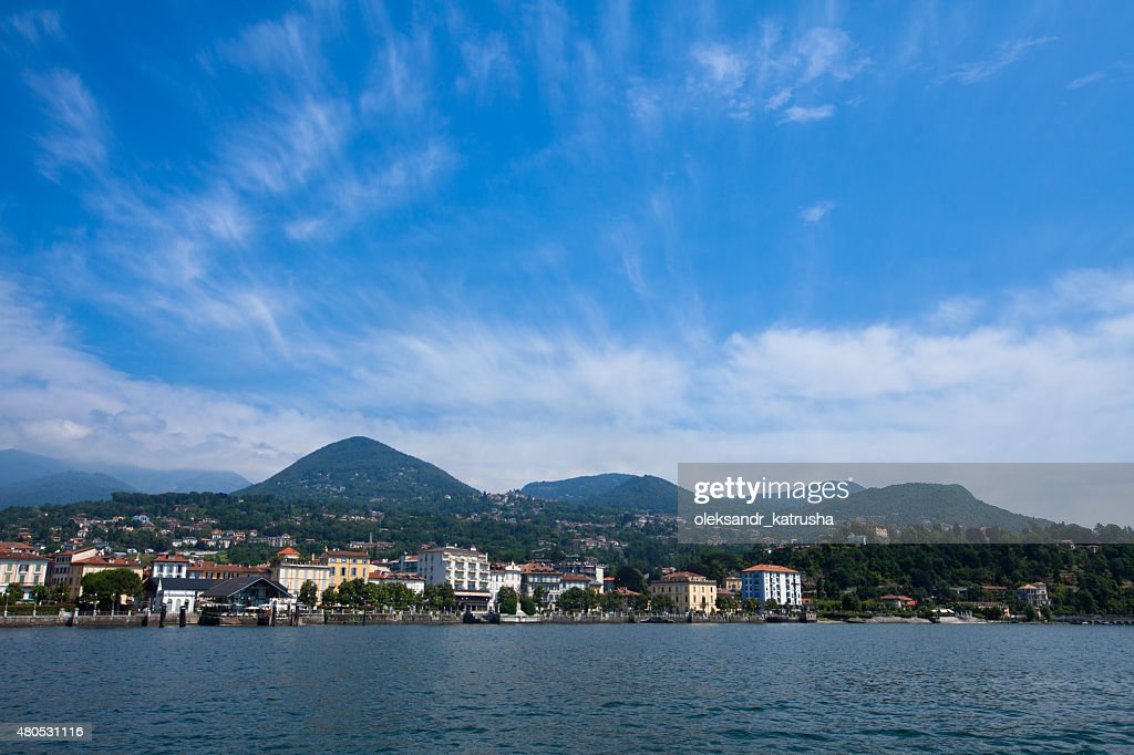 Lake Maggiore panorama as seen from water : Bildbanksbilder