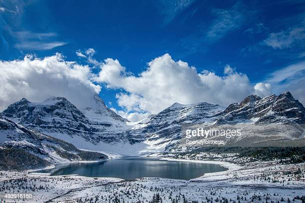 lake magog at mount assiniboine provincial park, canada - canadian rockies stockfoto's en -beelden