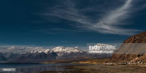 Lake Manosarovar with Himalayas background