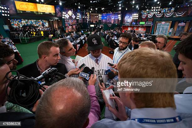 Lake Mary High School shortstop Brendan Rodgers talks to the media after being selected third overall by the Colorado Rockies during the 2015 Major...