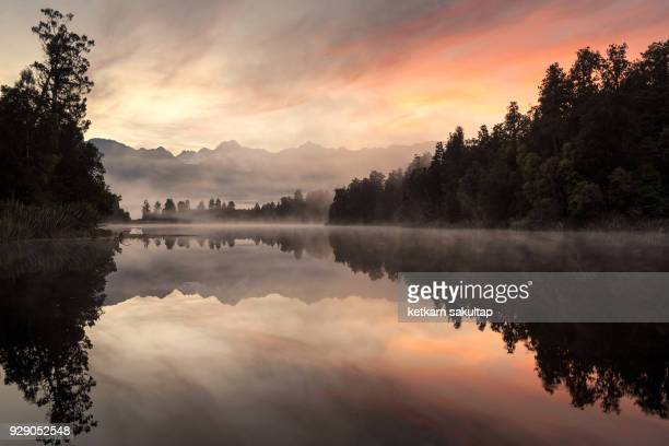Lake matheson at sunrise.