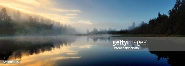 lake matheson in the morning cover by the fog, south island, new zealand - data lake bildbanksfoton och bilder