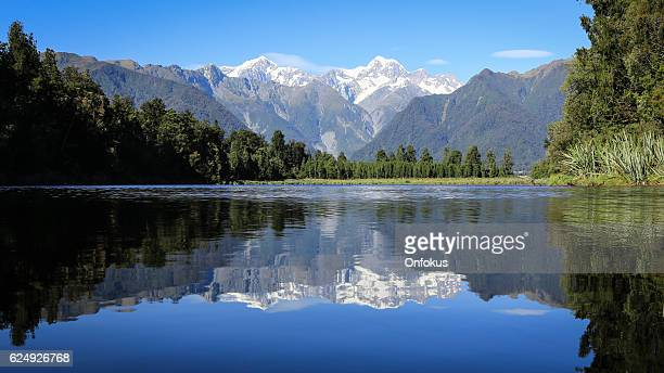 Lake Matheson Reflection Landscape Panorama, New Zealand, South Island