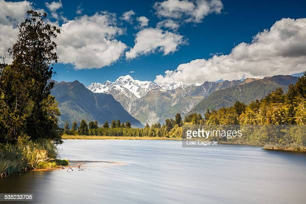 lake matheson with mount cook - lagarde stock photos and pictures