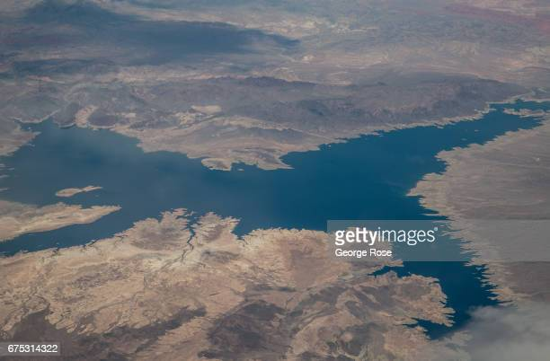 Lake Mead and the Colorado River are viewed from 34000 feet on April 16 near Las Vegas Nevada An unusally wet spring has broken the fiveyear drought...