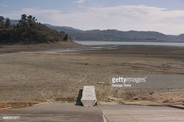 Lake Mendocino, one of two major water storage lakes on the Russian River, is nearly empty on January 24 near Ukiah, California. With 2013 the driest...
