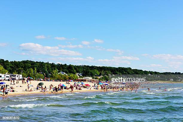 lake michigan beach in grand haven state park - state park stock pictures, royalty-free photos & images