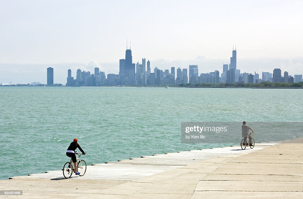 Lake Michigan with skyline and bicyclers : Stock Photo