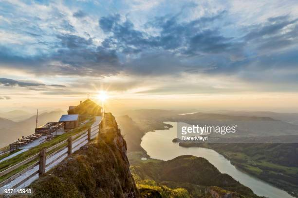 lake mondsee at sunset from schafbergspitze - sunset at mount schafberg, - upper austria stock pictures, royalty-free photos & images