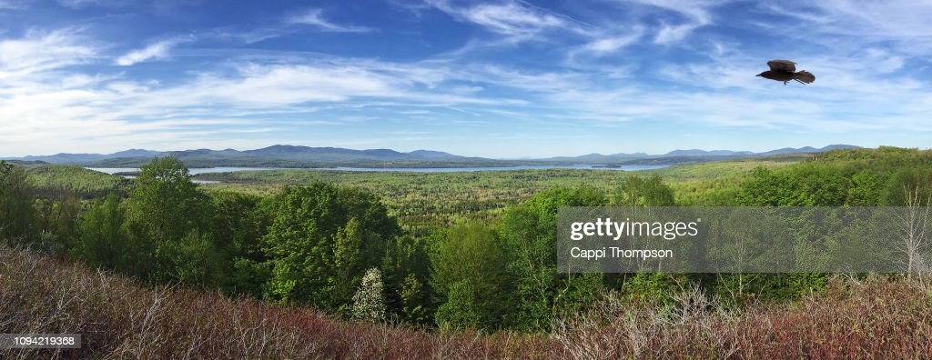 Lake Mooselookmeguntic near the Rangeley Lakes are in North eastern Maine, USA during spring. : Stock Photo