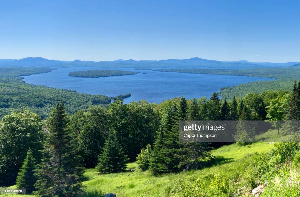 Lake Mooselookmeguntic Rangeley lakes region Maine USA 2019 : Stock Photo