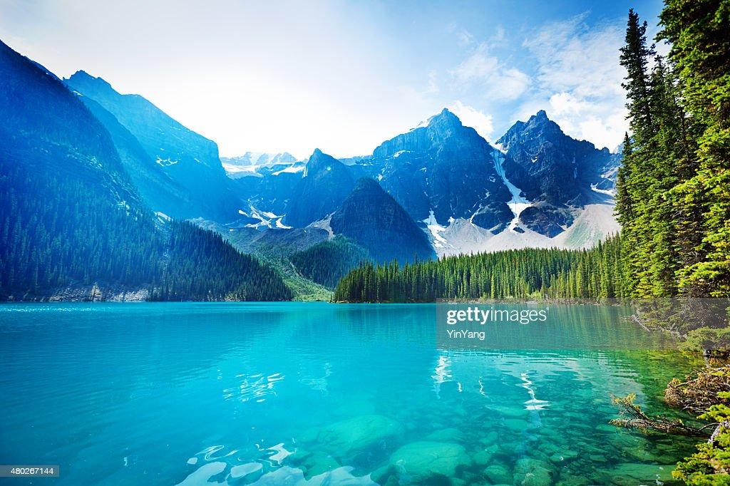 Lake Moraine, Banff National Park Emerald Water Landscape, Alberta, Canada : Stock Photo