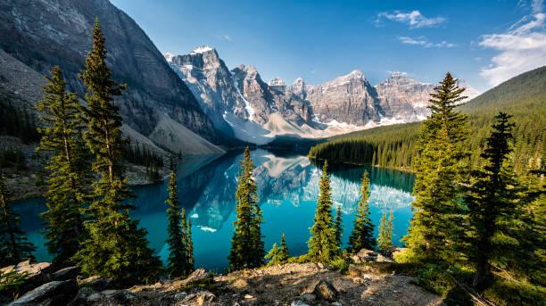 Lake Moraine in Alberta, Canada.