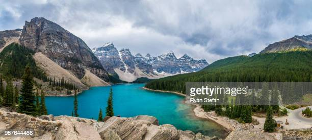 lake moraine in banff, alberta, canada. - moraine lake stock pictures, royalty-free photos & images
