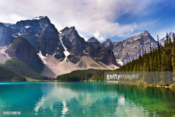 lake moraine in banff national park of canada - seven sisters cliffs stock photos and pictures