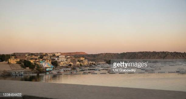 Lake Nasser in the evening light on February 06, 2020 in Assuan, Egypt.