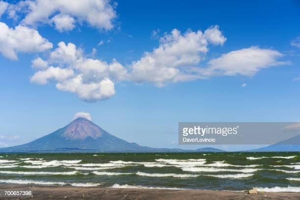 Lake Nicaragua and Volcano Conception on windy day, Nicaragua